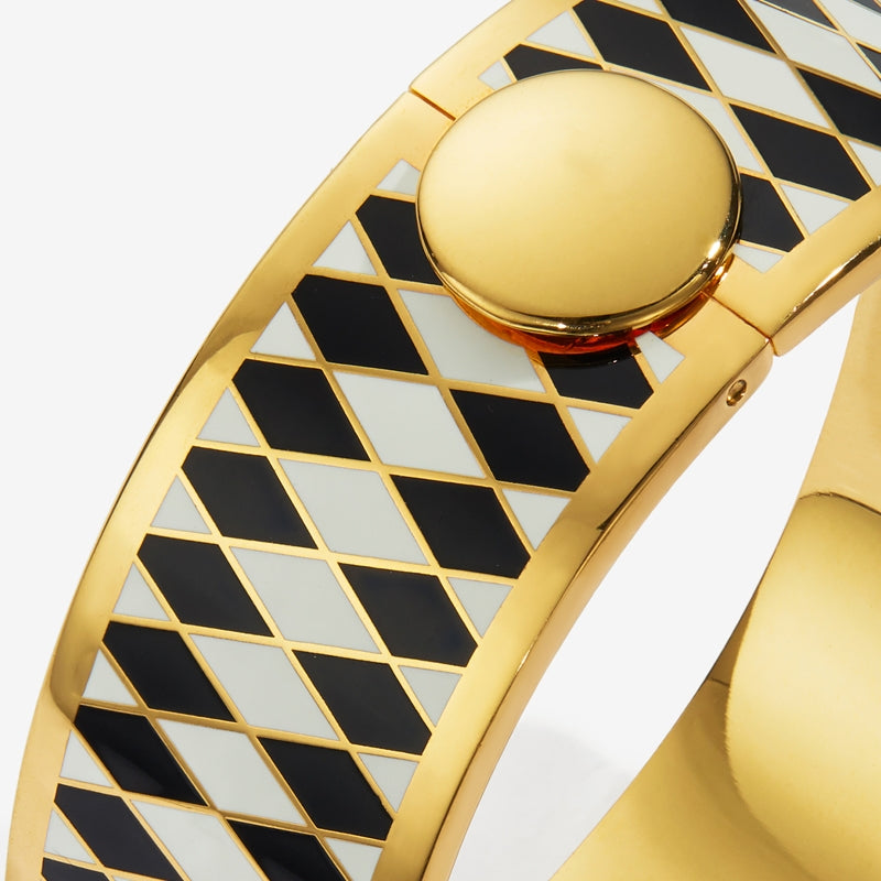 Parterre Black Cream & Gold Bangle