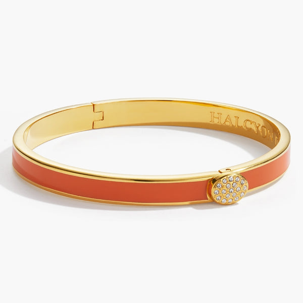 Skinny Pave Button Orange & Gold Bangle