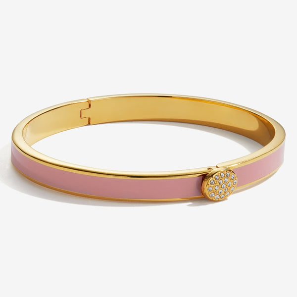 Skinny Pave Button Pink & Gold Bangle