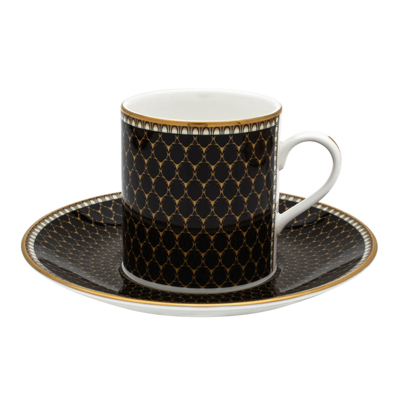 Antler Trellis Set of 6 Coffee Cups & Saucers Black