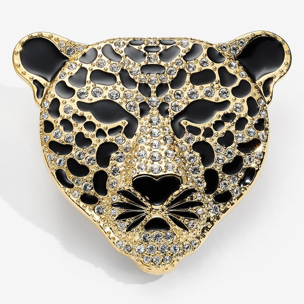 Sparkle Leopard Head Pave Brooch