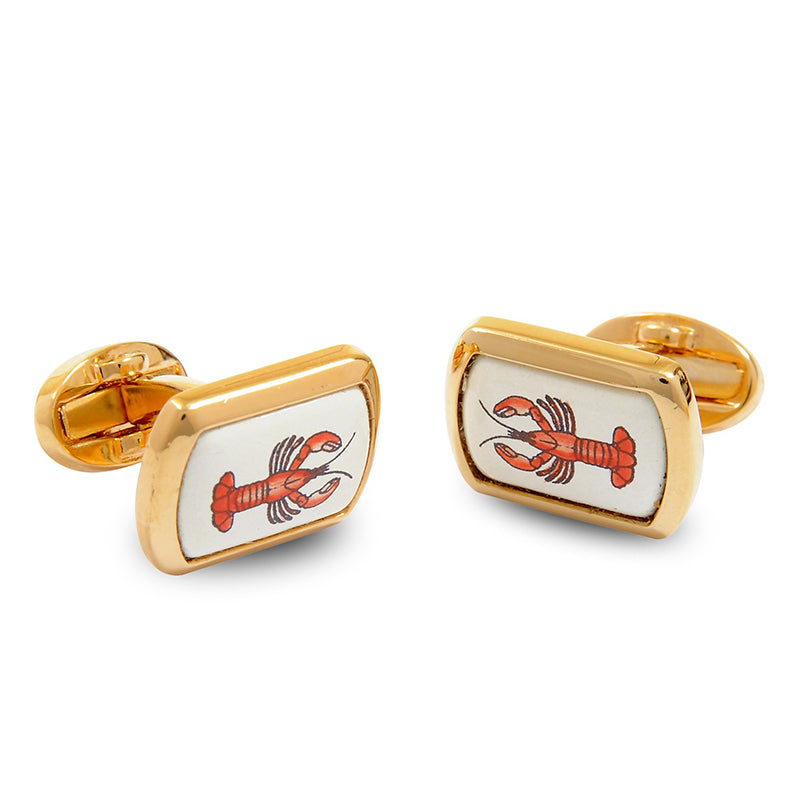 Lobster Gold Rectangular Cufflinks