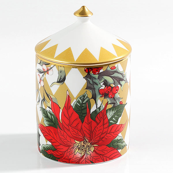 Parterre Gold with Poinsettia Lidded Candle