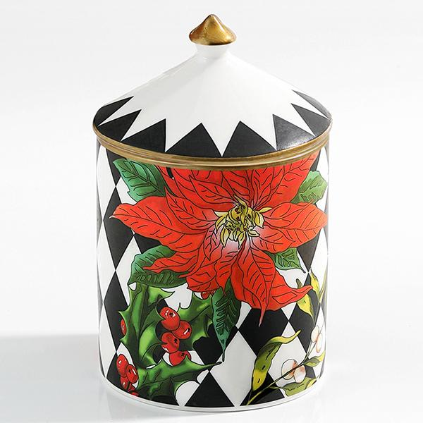 Parterre Black with Poinsettia  Lidded Candle