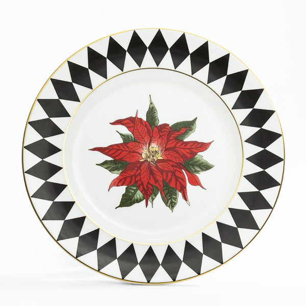 "Parterre Black with Poinsettia 8"" Rim Plate"