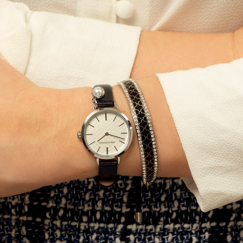 Agama Strap Pearl Charm Black & Palladium Watch