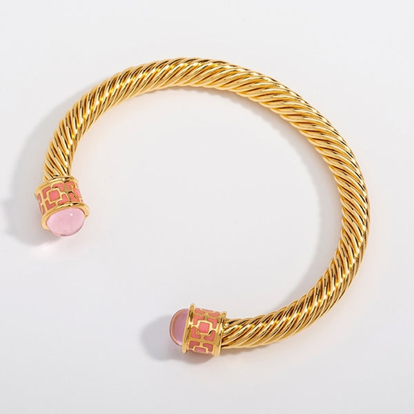 Maya Torque Rose Quartz & Gold Bangle