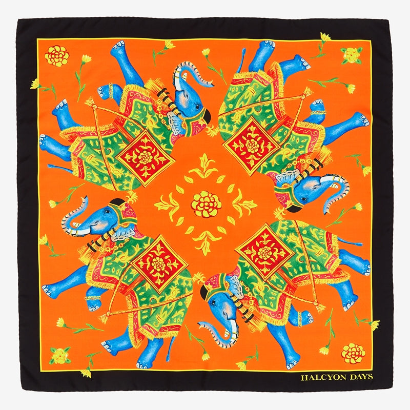 Elephant Array Orange Silk Scarf