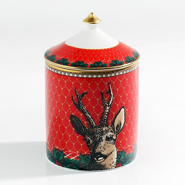 Antler Trellis & Stag Red Lidded Candle