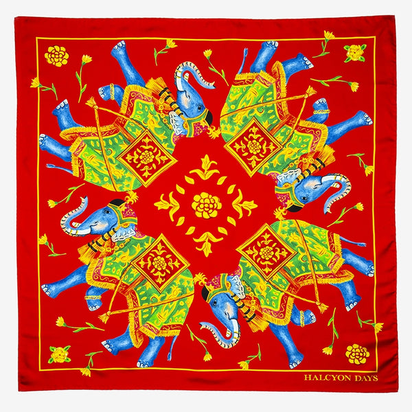 Elephant Array Deep Red Silk Scarf