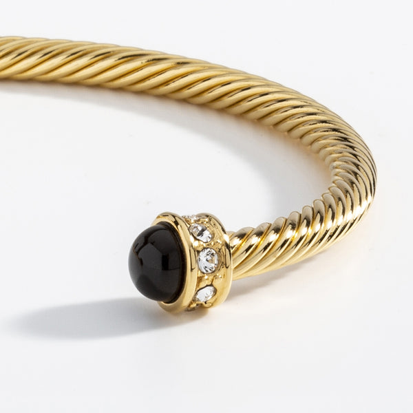 Skinny Sparkle Black & Gold Torque Bangle