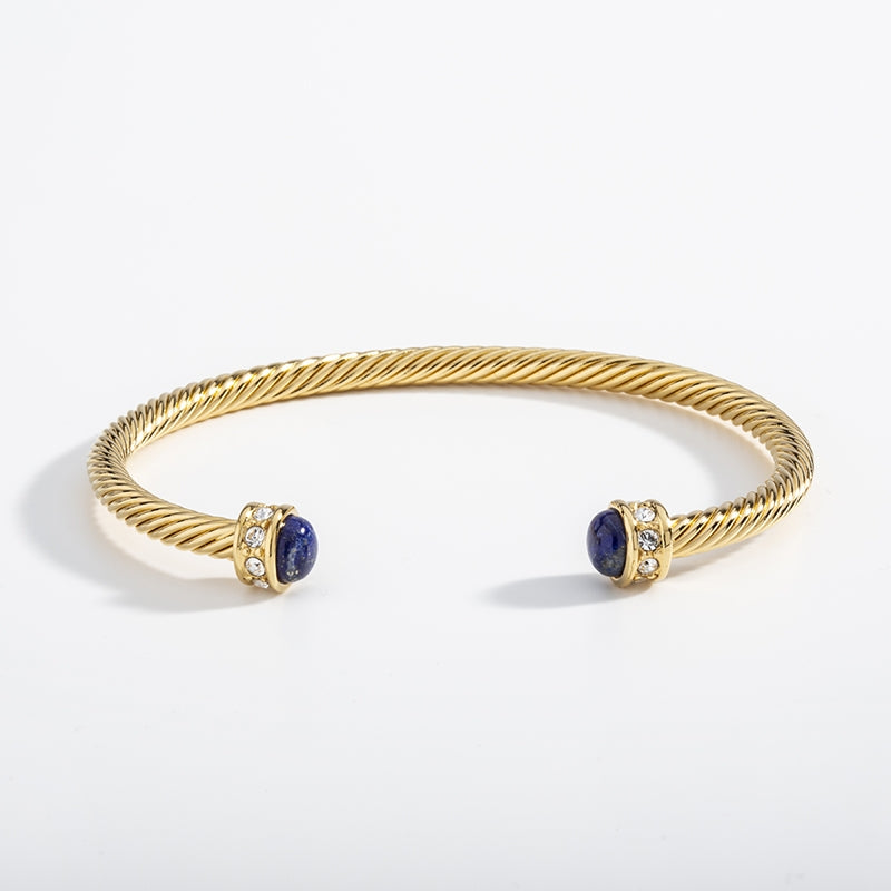 Skinny Sparkle Deep Cobalt & Gold Torque Bangle