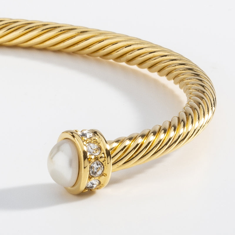 Skinny Sparkle Ivory & Gold Torque Bangle
