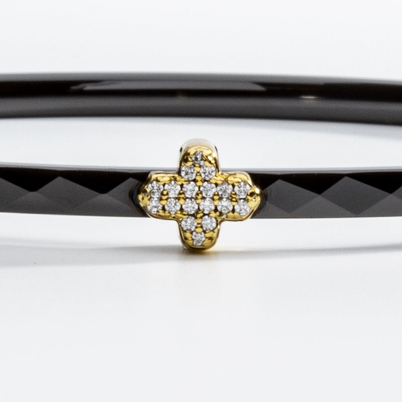 Single Agama Pavé Bangle Black & Gold