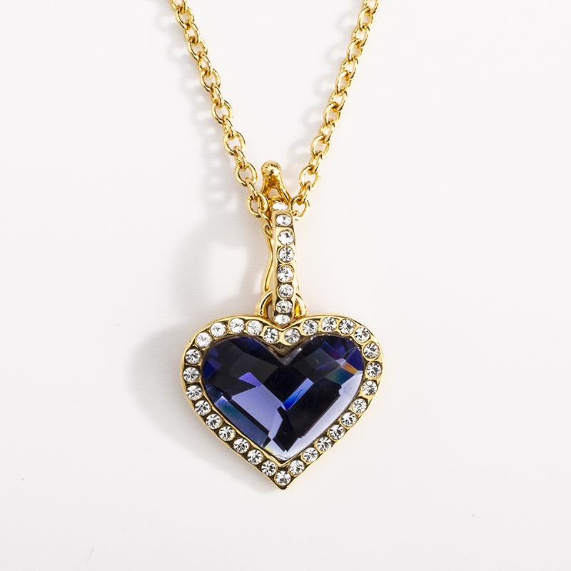 Facet Heart Blue Topaz & Gold Pendant