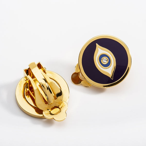 Evil Eye Sparkle Clip on Earrings Midnight Blue & Gold