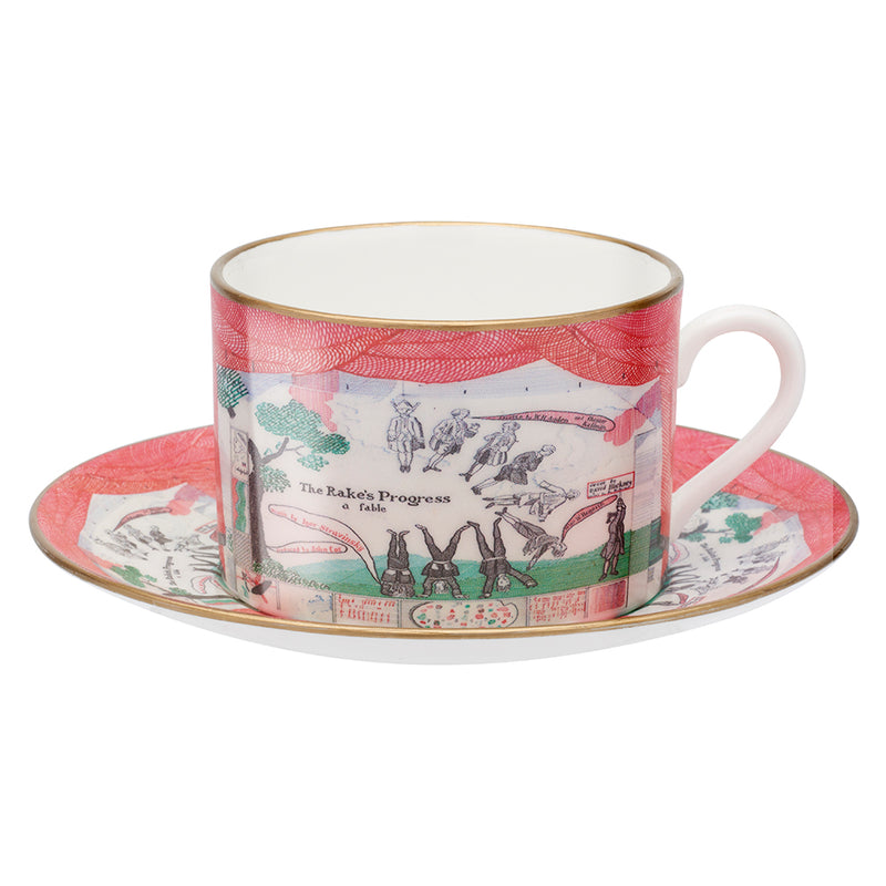 Drop curtain teacup and saucer by David Hockney