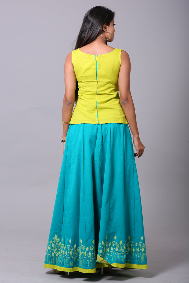 Contemporary Leaf Pattern Skirt & Solid Top Set - Green & Blue