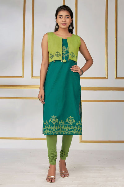 Abstract Bird Printed Kurti With Jacket - Green - Maybell Womens Fashion
