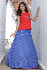 Printed Skirt and Embroidered top - Red & Ink Blue
