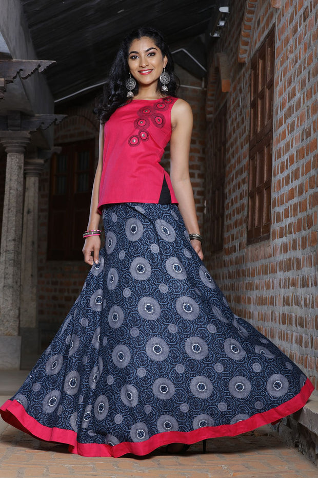 Geometric Printed Skirt with Embroidered top - Pink & Grey