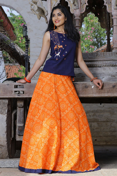 Paneled Skirt Set - Orange And Navy