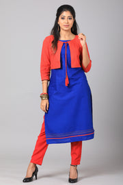 Solid Kurta with Jacket - Red & Blue