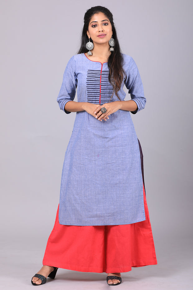 Placement Geometric Embroidered Kurta - Grey