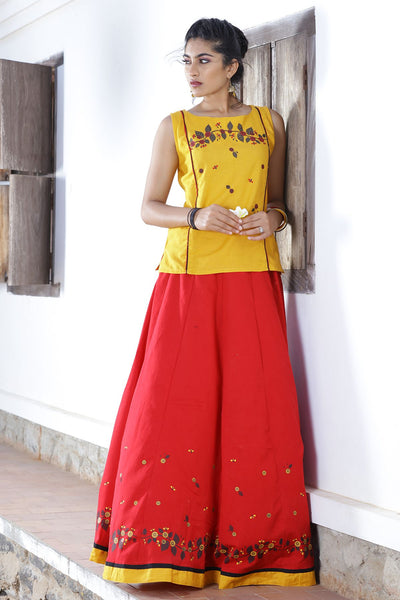 Red & Mustard Print Paneled Skirtset