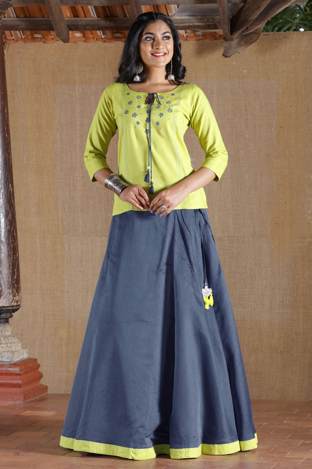 Chanderi Skirt Set - Lime Green & Grey