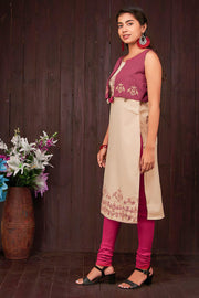 Abstract Bird Printed Kurti With Jacket - Beige & Maroon - Maybell Womens Fashion