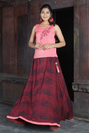 Skirt Set - Pink & Maroon