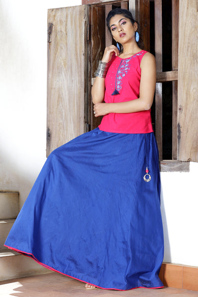 Vibrant Skirt & Solid Top Set - Pink & Blue