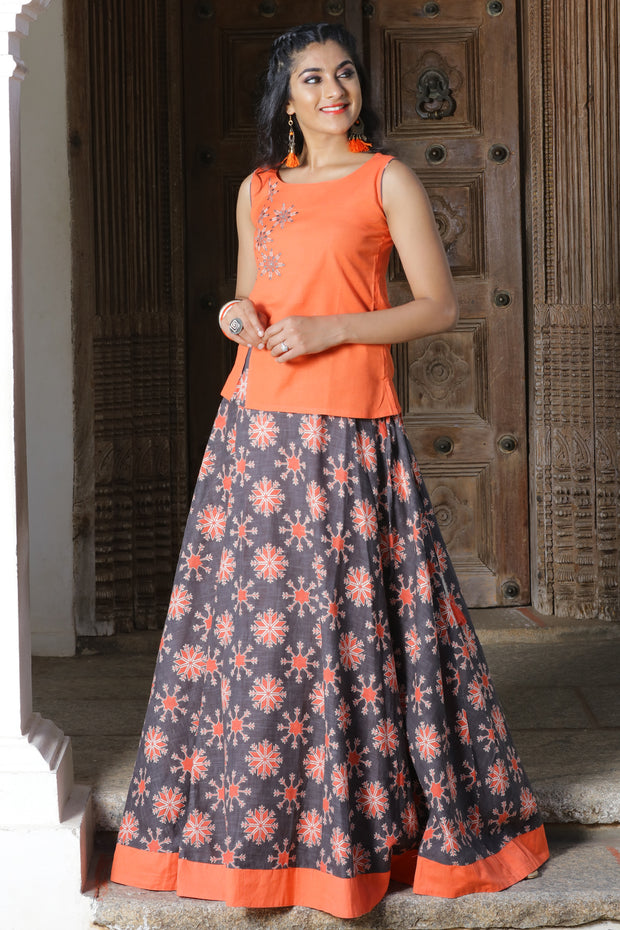 Geometric Floral Embroidered Top & Printed Skirt & Top Set - Orange & Grey