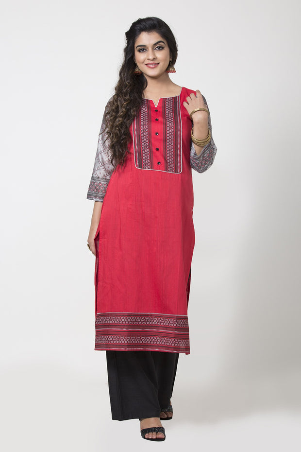 Contemporary Sleeve pattern kurta - Red