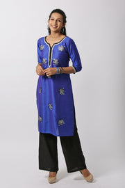 Pretty Floral Embroidered Kurta - Blue