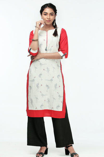 Straight fit Panel printed Kurta  - Red & White