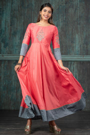 Contemporary Damask Floral Embroidered Anarkali Kurta - Pink