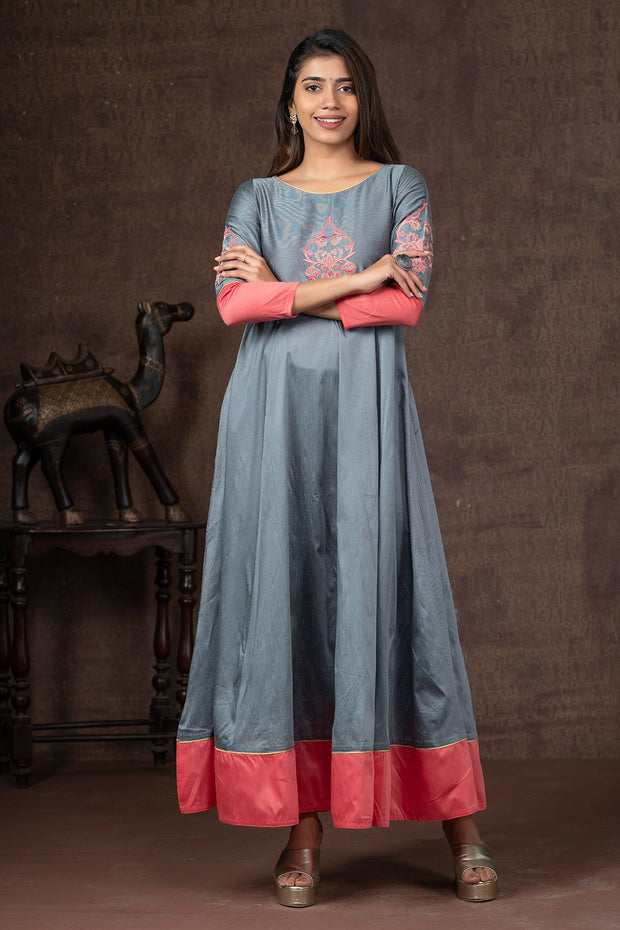 Contemporary Damask Floral Embroidered Anarkali Kurta - Grey