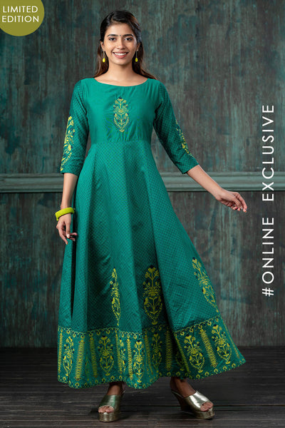 Vintage Floral Embroidered & Printed Anarkali Kurta - Green