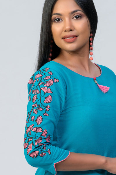 Maybell-Leaf printed kurta -Blue1