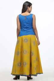 Abstract Pattern Skirt & Top Set - Blue & Yellow