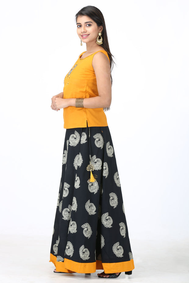 Peacock Motif Printed Skirt & Solid Top Set - Yellow & Black