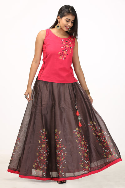 Placement Floral Printed Skirt & Solid Top Set - Red & Brown