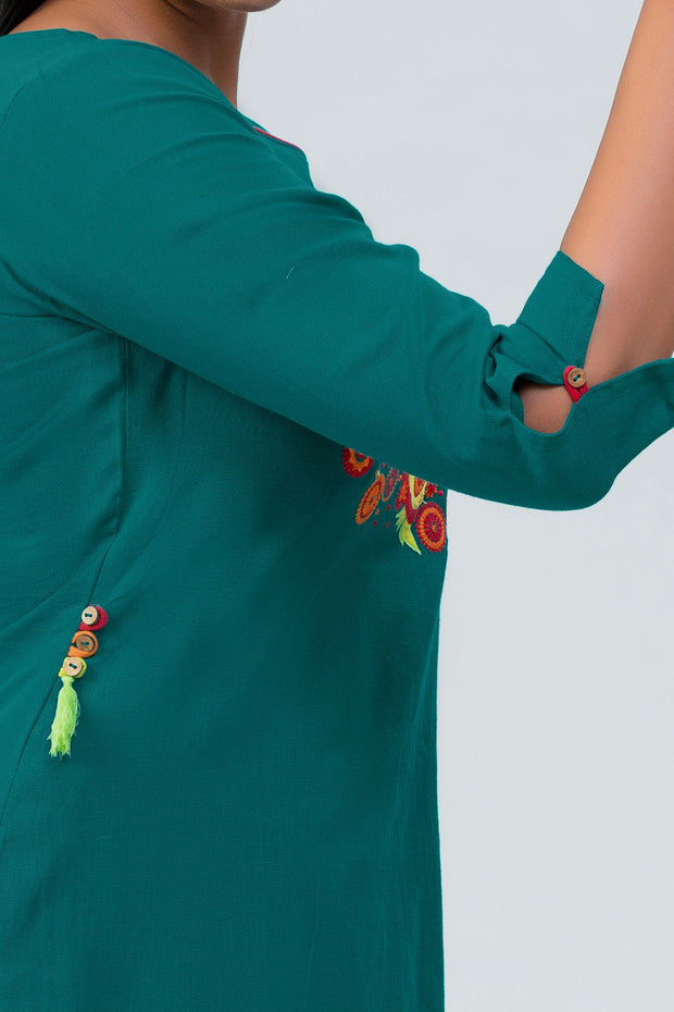 Maybell Owl embroidered kurta- Green4