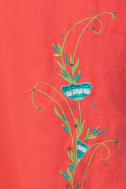Maybell-Floral embroidered kurta - Peach-4