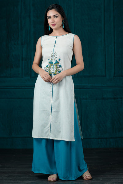Mushroom Gardern Placement Printed Kurta - Off White