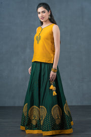 Contemporary Peacock Embroidered Top &  Placement Printed skirt set - Yellow & Green