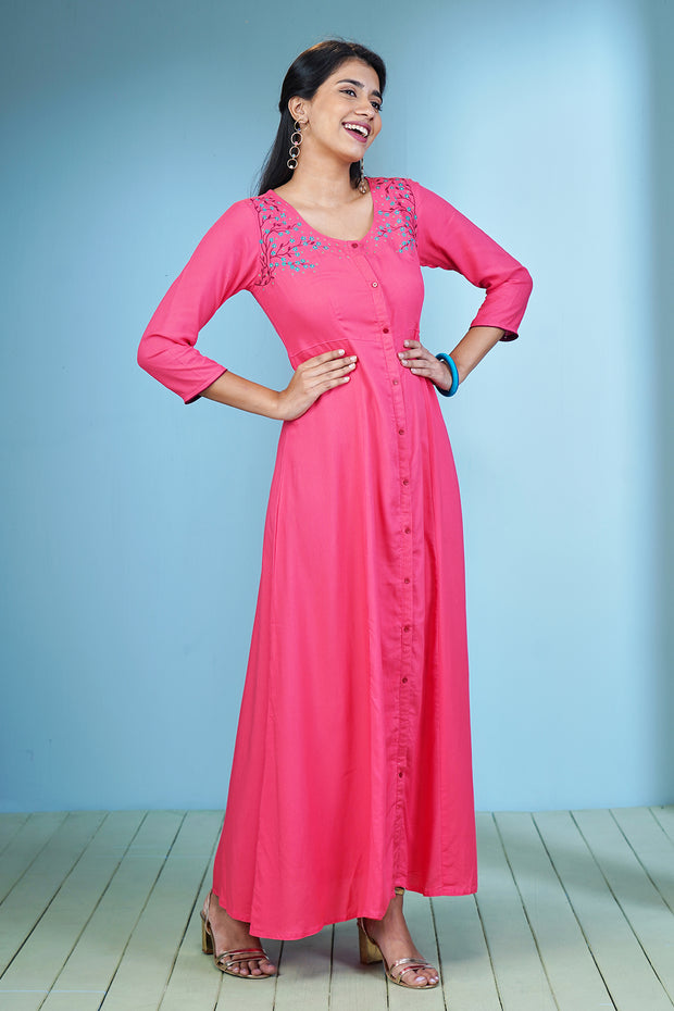 Solid Floral Embroidered Maxi Dress - Pink