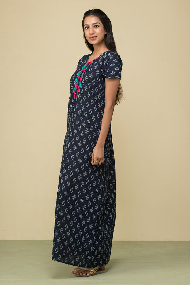 All over abstract motif Printed Nightwear – Navy